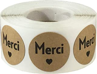 Merci French Thank You Natural Kraft Adhesive Stickers 1 Inch Round Labels 500 Labels Per Roll