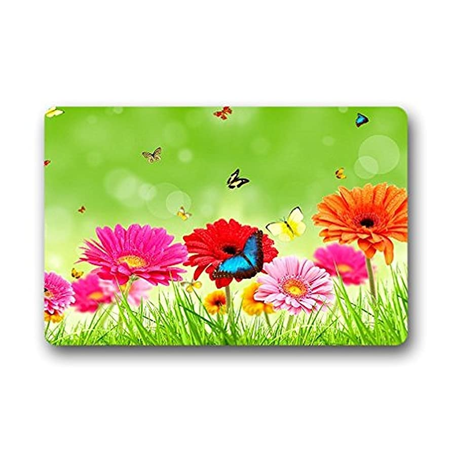 SPXUBZ Flowers Beautiful Butterfly Green Grass Non Slip Entrance Rug Outdoor/Indoor Dirt Buster Durable and Waterproof Machine Washable Door Mat Size:23.6x15.7 Inch