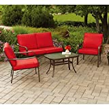 Mainstays Stanton Cushioned 4-Piece Patio Conversation Set, Seats 4 (Red)