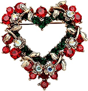 Haodeba 1 Piece Vintage Lovely Red Rhinestone Christmas Wreath Brooch Love Heart Brooch Pin Santa Claus Gift Party Favor