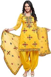 Womens Rajasthani Mirror Work Chanderi Embroidery Readymade patiala Salwar kameez