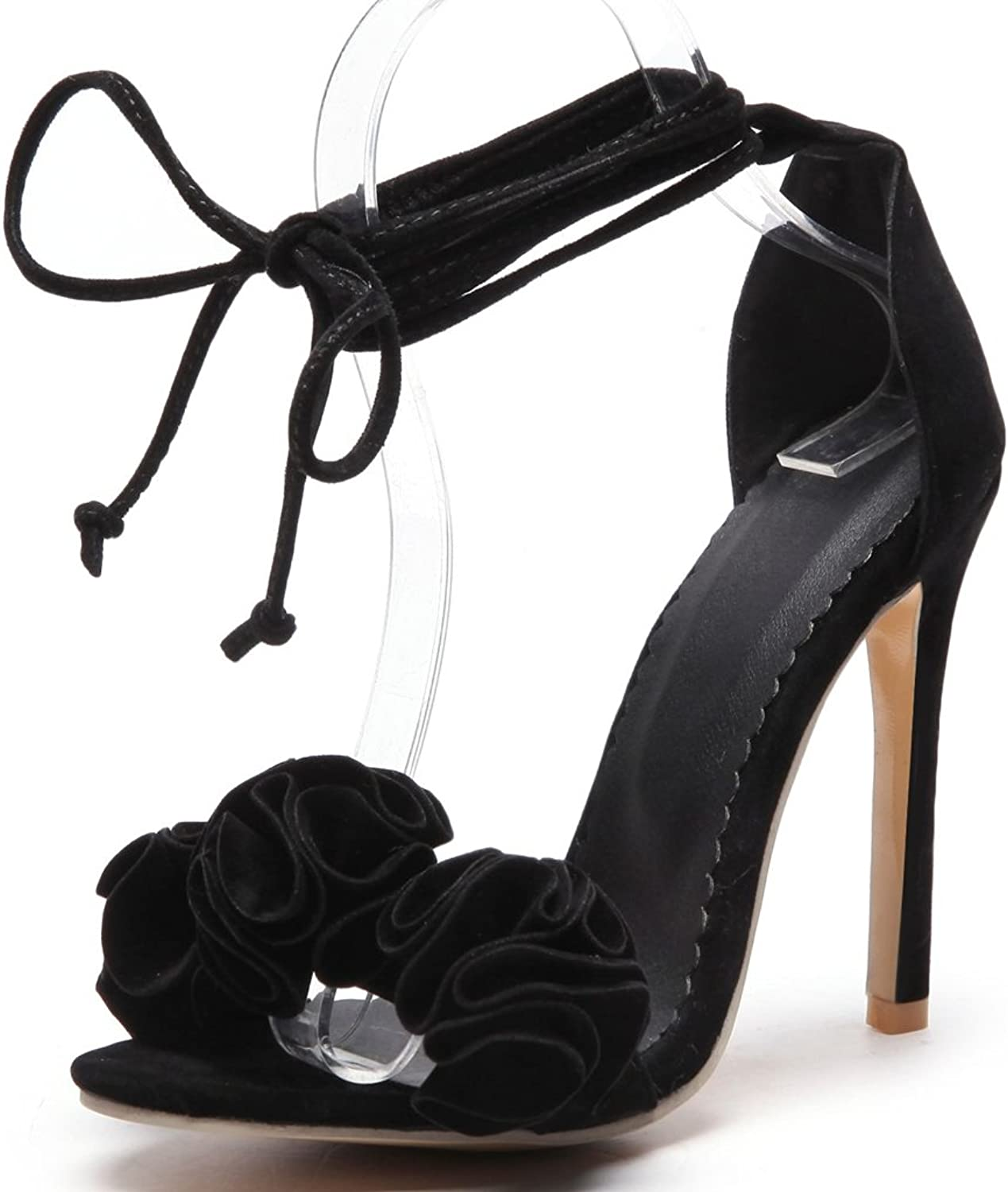 Kaloosh Women's Beautiful Suede Leather Belt Strap Flowers Stiletto High Heel Party Sandals