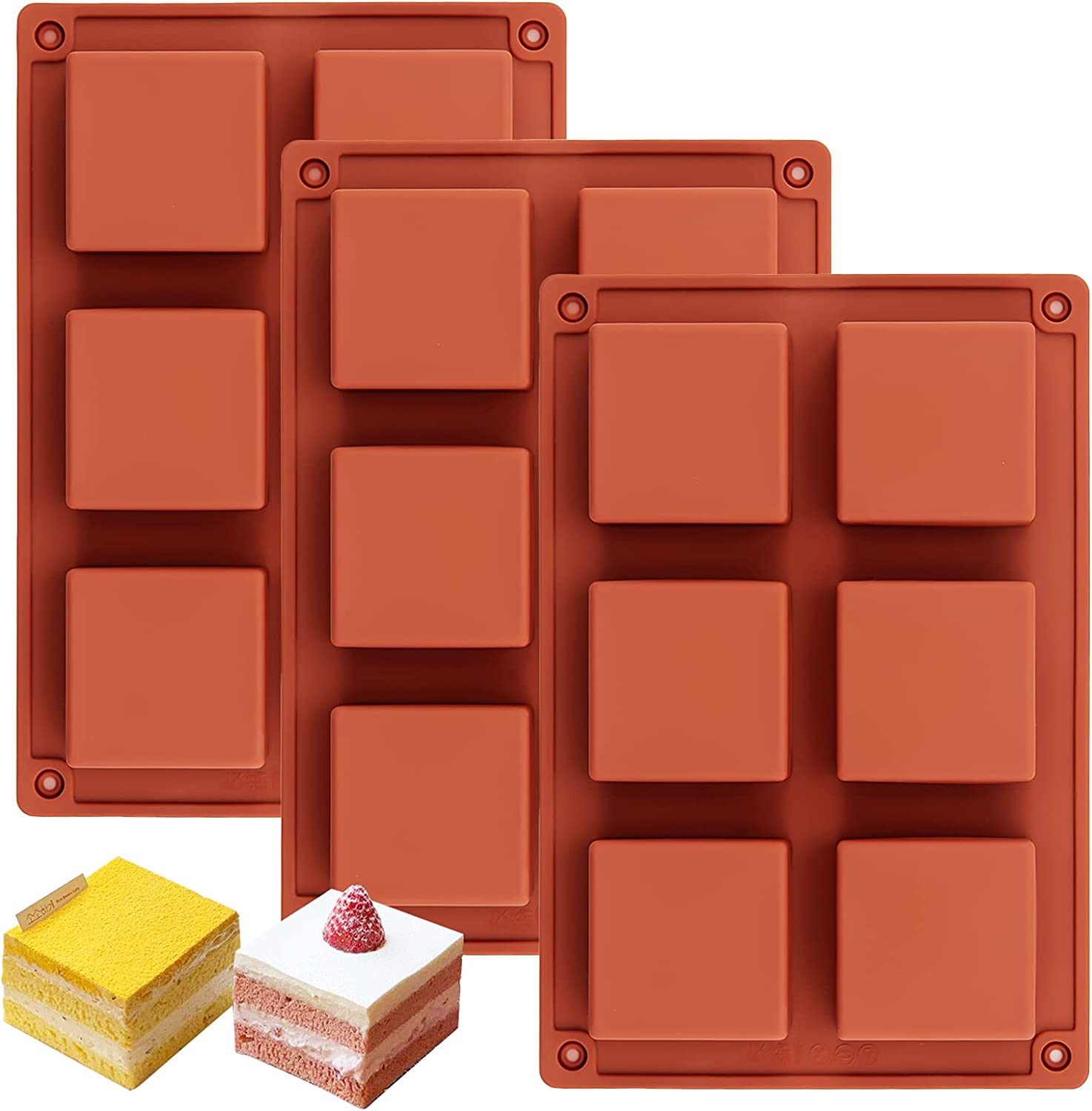Ocmoiy 3 Pack Square Chocolate Candy Mold | 2