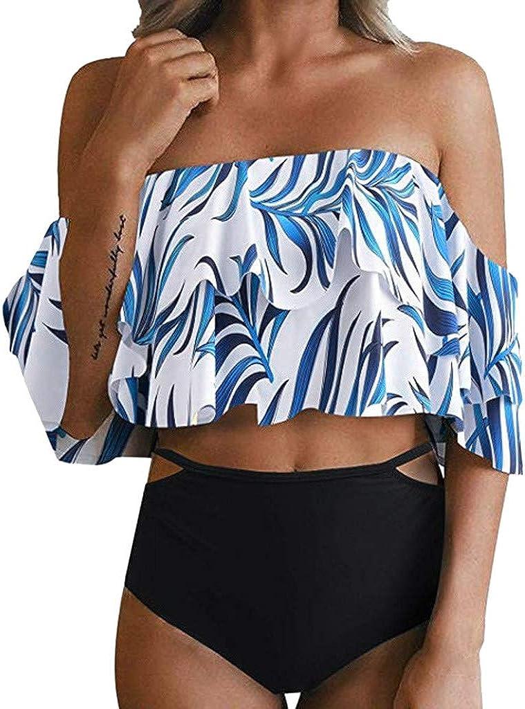 Forthery-Women Two Piece Swimsuit Off Shoulder Ruffled Bikini Set Flounce Tankini Top High Waisted Bikini Bottom(Black,M)