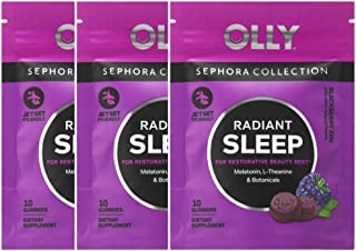 OLLY Radiant Sleep Gummy Vitamins! Formulated with Melatonin, L-Theanine, Chamomile, Passionflower and Lemon Balm! Promote Healthy Sleep Cycles! Radiant Sleep on The Go! 3 Pack Travel Size!