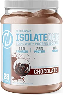 IsolateOne Whey Protein Isolate Powder by NutraOne – 100% Pure and Amino Acid Free Whey Isolate Powder (Gourmet Chocolate - 2 lbs.)