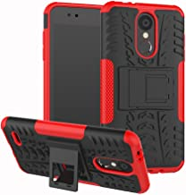 LG Aristo 2,LG Aristo 2 Plus,LG K8 2018,LG Risio 3/LG Fortune 2 Case, AUSURE[Shockproof] Hybrid Tough Rugged Dual Layer Protective Phone Case Cover Kickstand (Red)