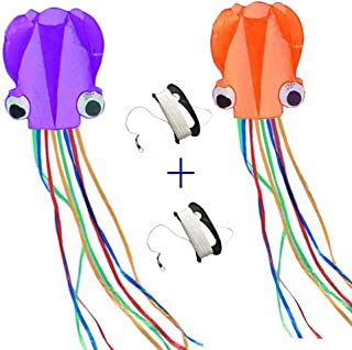 Mayco Bell Kites 2Pcs Purple and Orange Octopus Portable Kite Nylon & Polyester Material - Perfect Toy for Kids and Children Outdoor Games Large 28 x 157 Inches | Extra 328 Feet of Line