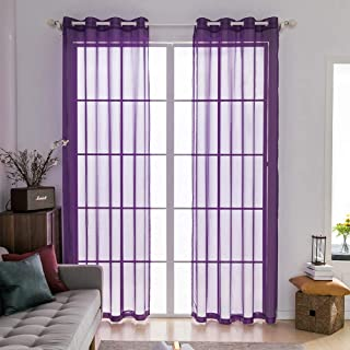 MIULEE 2 Panels Solid Color Purple Sheer Curtains Elegant Grommet Window Voile Panels/Drapes/Treatment for Bedroom Living Room (54X90 Inch)