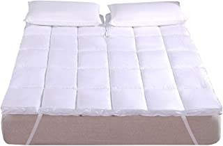 Royal Hotel Abripedic Plush Cotton Mattress Topper, Top Split King, 2 Inches Hypoallergenic Overfilled Down Alternative Anchor Bands Mattress Topper