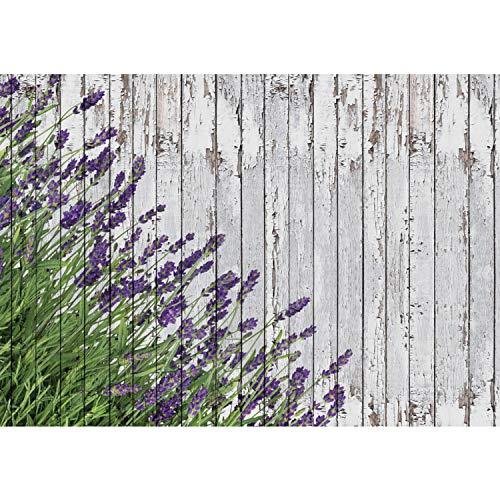 Vlies Fototapete PREMIUM PLUS Wand Foto Tapete Wand Bild Vliestapete - Lavendel Holzwand Pflanzen Natur Zeichnung - no. 1755, Größe:368x254cm Vlies