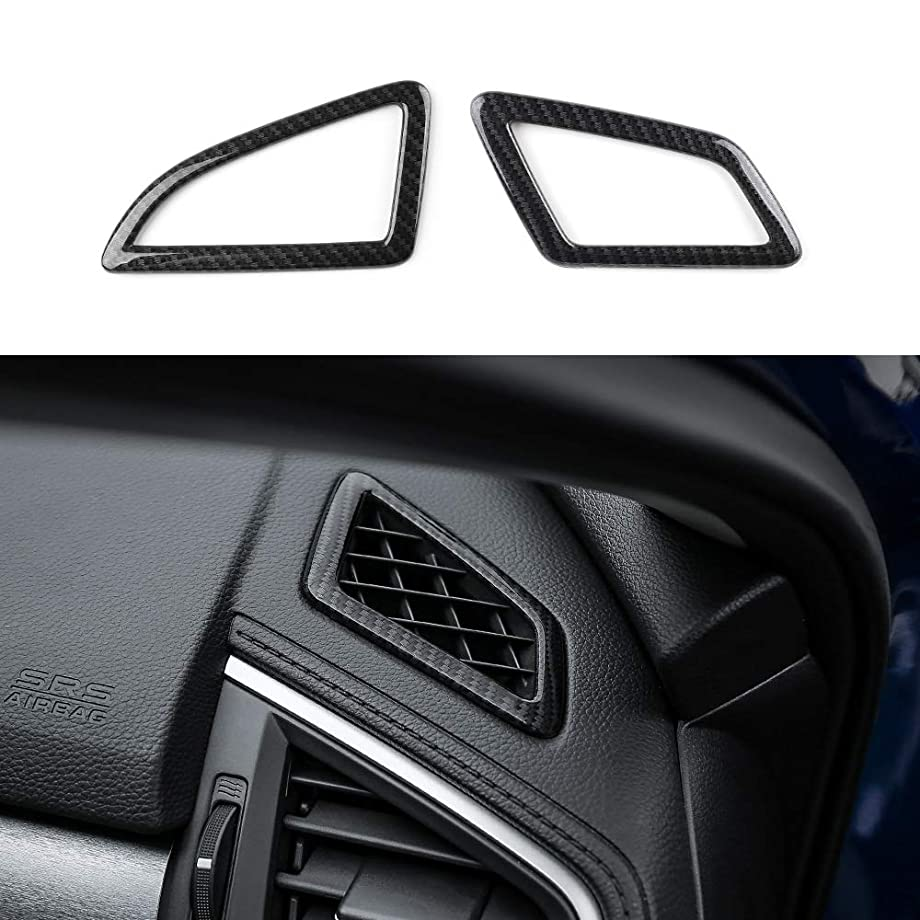 Thenice for 10th Gen Civic ABS Carbon Fiber Style Dashboard Air Vent Trims Wind Outlet Decoration Stickers for Honda Civic 2016 2017 2018 2019