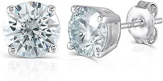 10K White Gold Post 4ct 8mm Blue Tinted Moissanite Stud Earrings Platinum Plated Silver Push Back for Women