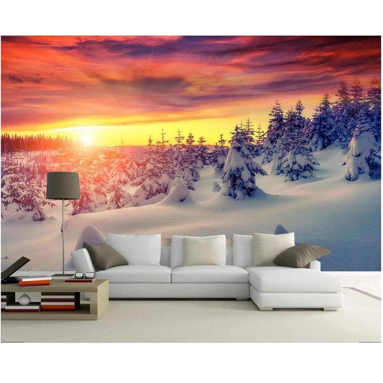 ヘリコプター構造幅Lcymt 壁画の壁紙 カスタム風景壁画太陽輝き雪の森自然風景壁紙寝室リビングルームソファ背景壁の装飾-150X120Cm