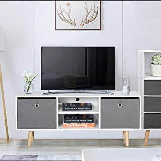 Aingoo White Modern TV Stand Wooden 43IN Console Table Table with Media Shelf Large Drawer Storage White MDF Fabric Holds up to 45