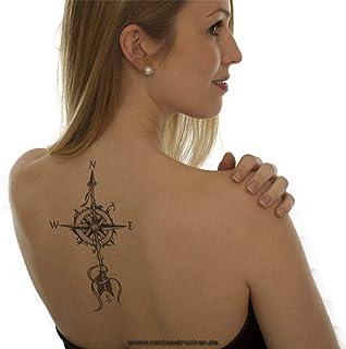 2 x windrose kompas pijl - zwarte body tijdelijke nep tattoo - XQB023 (2)