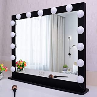 "BEAUTME Hollywood Vanity Mirror with Lights,Dressing Tabletop Mirror with 15pcs Led Lights 3 Lighting Color (27.6""/21.73"" ..."