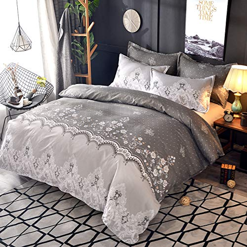 Duvet cover and pillowcase bedding quilt cover double bed room king-size bed-lace medium gray
