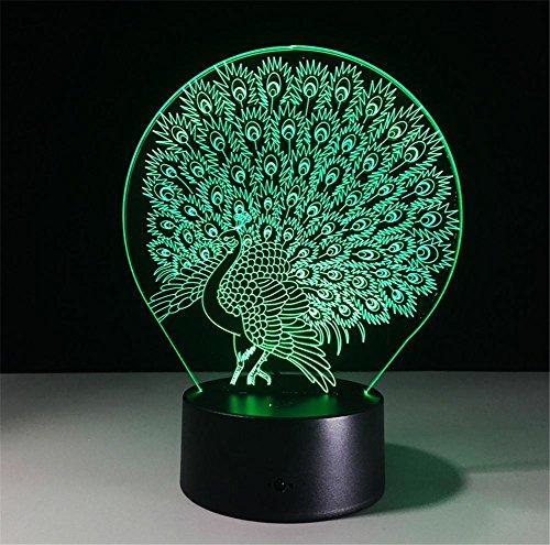 Veilleuses Illusions Optiques Peacock lampe de bureau 3d 7 couleurs Changement tactile interrupteur à distance Tableau de commande LED Night Light Lighting Décoration Accessoires pour la maison