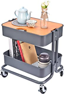 2-Tier Metal Utility Rolling Cart Storage Side End Table with Cover Board for Office Home Kitchen Organization, Dark Gray