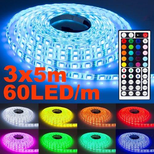 3x 5m NINETEC Flash60 RGB LED Strip Leiste Streifen SMD Band 60 LEDs/m Wasserdicht + 44 Key Fernbedienung IP65