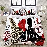 Juego de Funda nórdica, French Couture Fashion, Colorido Juego de Cama Decorativo de 3 Piezas con 2 Fundas de Almohada