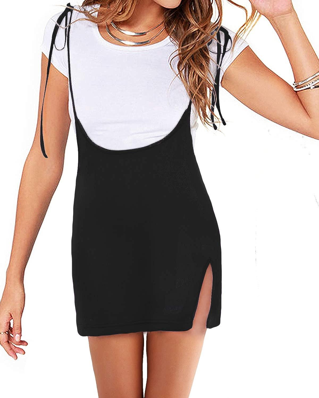 YOINS Women's Skirts Tie Knot Shoulder Straps Suspender Bodycon Mini Pencil Skirt Overall Dress