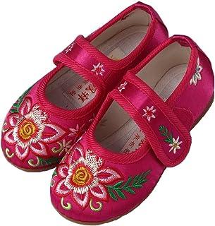 Hooyi女の赤ちゃんの花刺繍靴ファーストシューズかわいいプリンセスの快適な伝統的なフラットシューズ