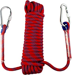 Yolyoo Outdoor Climbing Rope Static Rock Climbing Equipment 32FT,49FT,65FT High Strength Accessory Fire Escape Safety Rappelling Rope