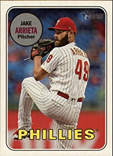 2018 Topps Heritage High Number Variations #721 Jake Arrieta Action Short Print MLB Baseball Trading Card