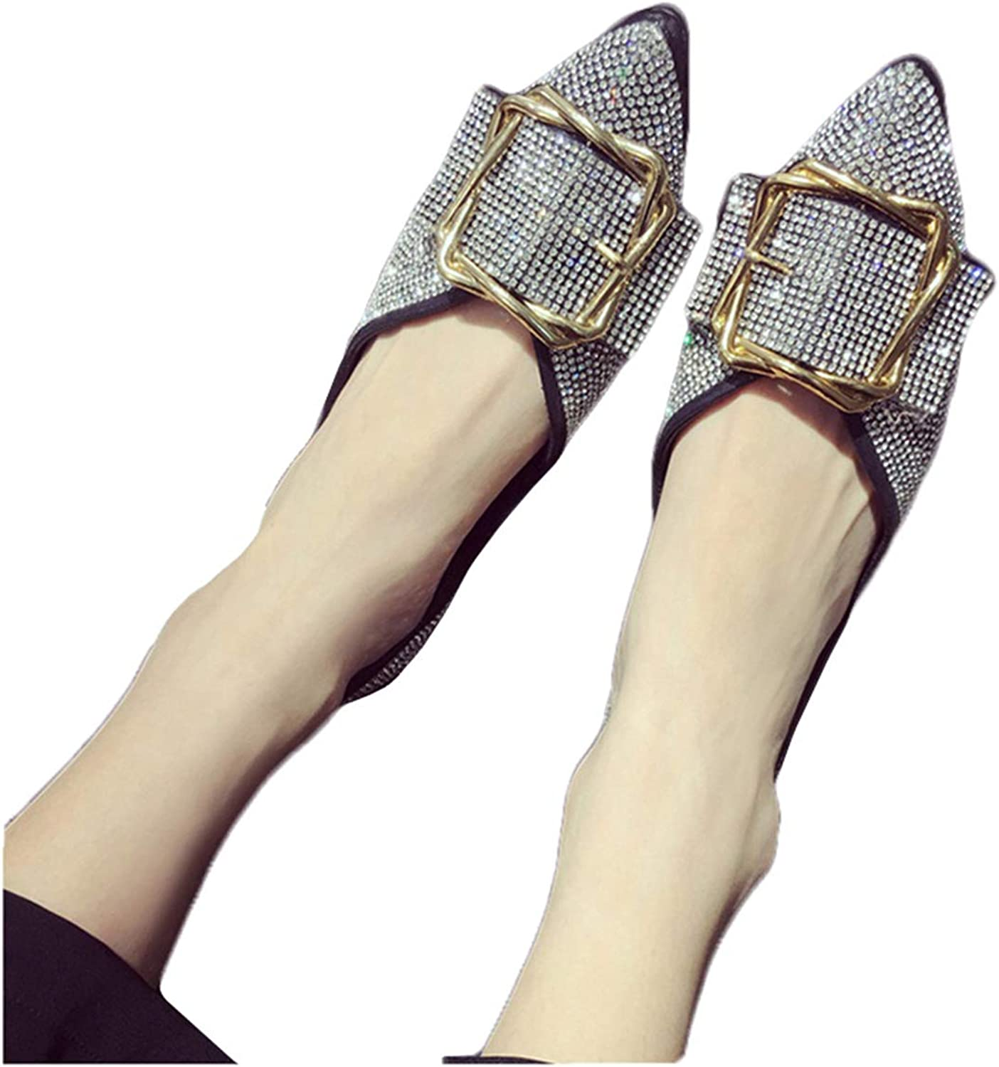 Owen Moll Women Flats, Fashion Slip On Ballet Crystal Pointed Toe shoes