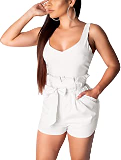 Winwinus Womens Casual Drawstring Pockets Belted Strappy Sleeveless Romper Pants