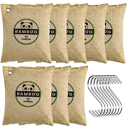 FUNFLOWERS 8 Pack Bamboo Charcoal Air Purifying Bag with Hooks, Kid & Pet Friendly, Activated Charcoal Bags Odor Absorber for Closet, Kitchen & Car (8x200g)