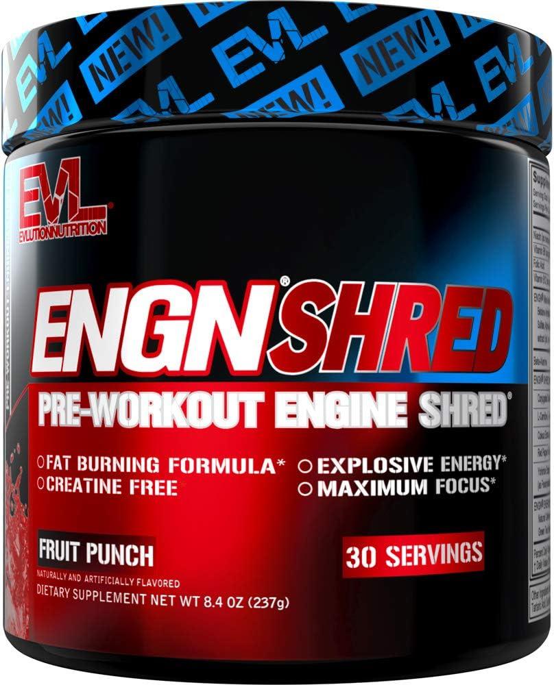 Evlution Nutrition ENGN Shred Pre Workout Powder, Energy, 30 Servings (Fruit Punch)