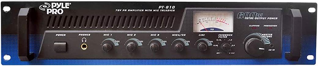 Pyle PT610 600 Watt 5-Channel 19-Inch Rack Mount Power Amplifier Mixer System with 70V Output and Mic Talkover, Black (4 P...