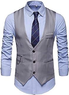 MU2M Men Single-Breasted V-Neck Rugged Skinny Dress Vest Waistcoat