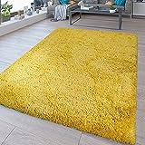 TT Home - Tappeto a pelo lungo, lavabile, Shaggy Flokati, in tinta unita, colore: giallo, dimensioni: 160 x 220 cm