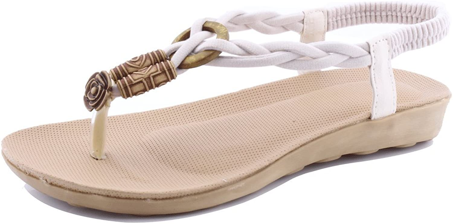 SENFI Flat Thong Sandal Elastic T-Strap shoes for Women
