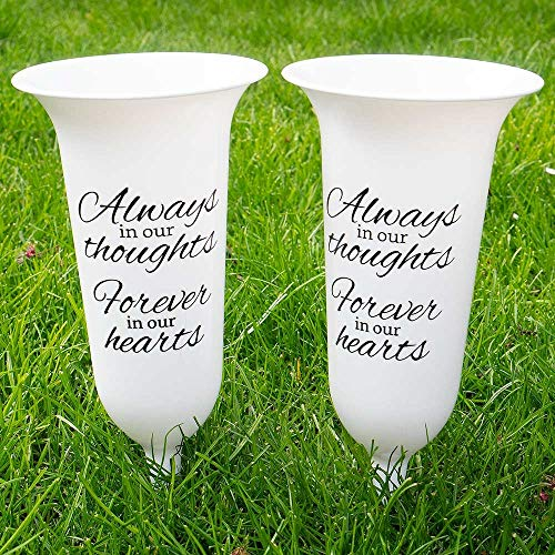 Angraves Set of 2 White Forever in Our Hearts Fluted Spiked Memorial Grave Flower Vases