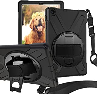 Rantice Samsung Galaxy Tab A 10.1 2019 Case, Heavy Duty Rugged Shockproof Drop Protection Case with 360 Stand, Handle Hand Strap & Shoulder Strapfor Galaxy Tab A 10.1 SM-T510/T515 2019 (Black)
