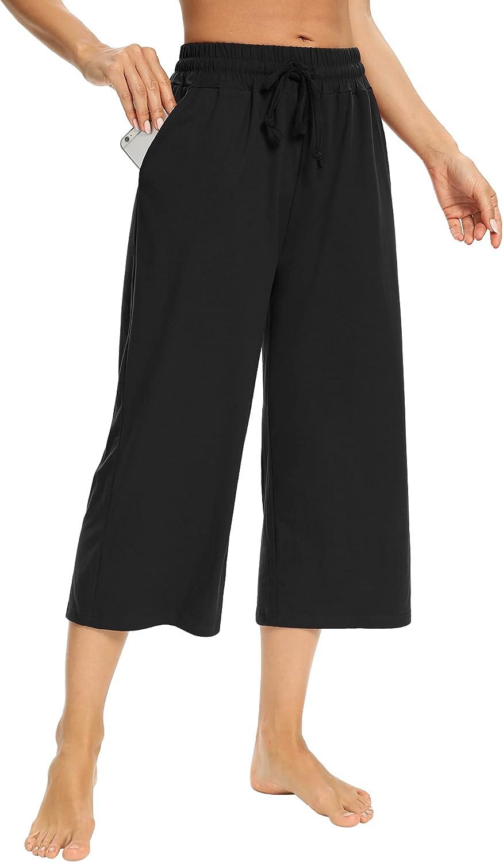 Sarin Mathews Womens Capri Pants Import Comfy Wide Leg Sweat Drawstring Max 43% OFF