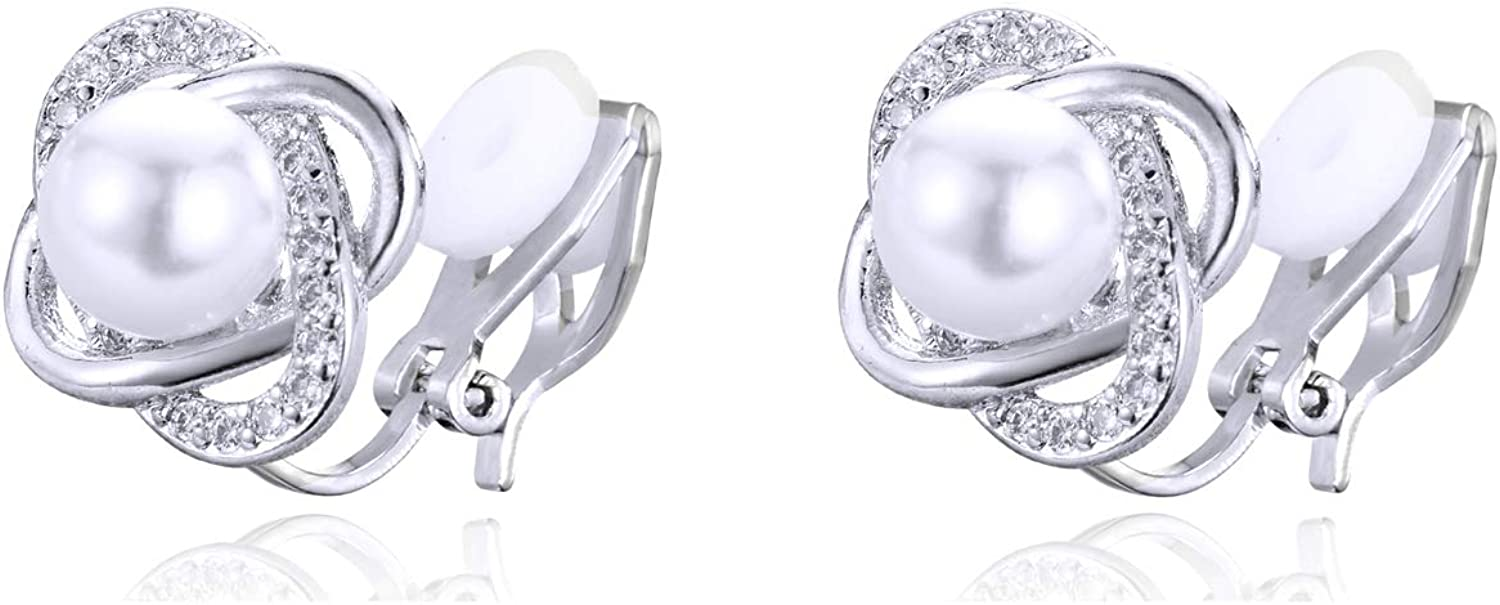 YOQUCOL 8mm Simulated Pearl Four-leaf Clover Shape Clip On Earrings CZ Crystal Non Pierced Stud for Women Girls