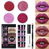 MTDBAOD Gloss Lip Kit Stay Golden,4 Colors Diamond Glitter Metallic Waterproof, Smudge-Proof and Long-Lasting Glitter Lip Kit with lip Primer and Brush (Warm Colors)