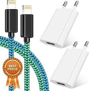Vaseakk - Set de carga [certificado MFi MFi MFi, cable de carga para teléfono 2 x 1 m y 2 adaptadores de alimentación USB para iPhone XS/XR/XR Max/X/8/8 Plus/7/7 Plus, iPad 4/Pro/Mini(azul y verde)