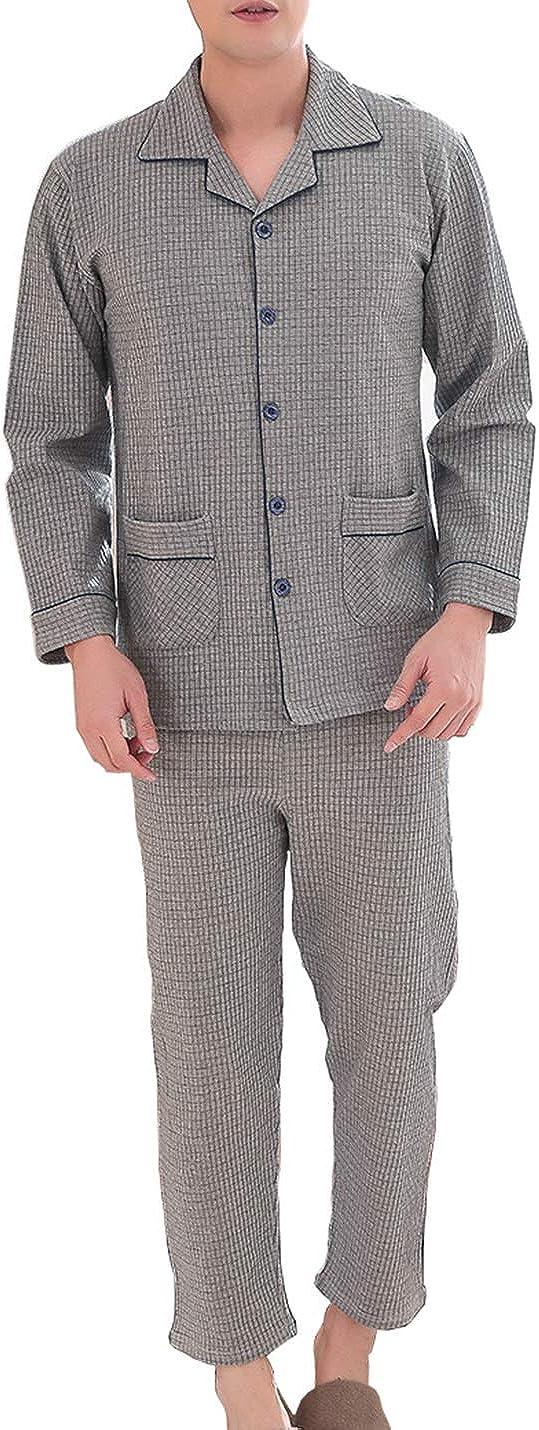 IKIIO Men's Pajamas Set 100% Cotton Plaid Button-Down Sleepwear Lounge Set Top Bottom PJs