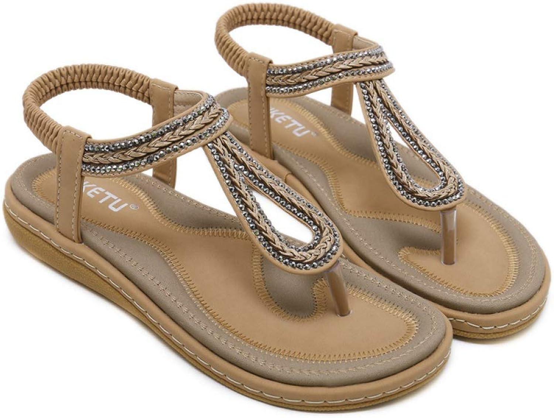 Btrada Women Summer Rhinestone Sandals Beach Flip Flops Soft Flats Ladies Casual Comfortable shoes