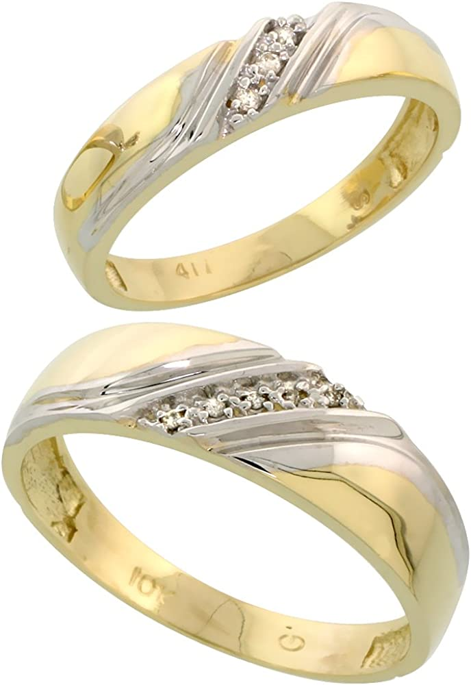 10k White Memphis Mall Gold Diamond 2 Piece Wedding 4 Recommendation Hers His 6mm Ring Set