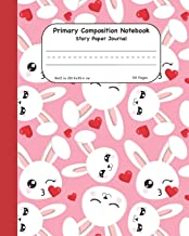 Primary Composition Notebook Story Paper Journal: Cute Pink Bunny Dashed Mid Lined Pages For Alphabet Practice Along With Space For Drawing Pictures 8