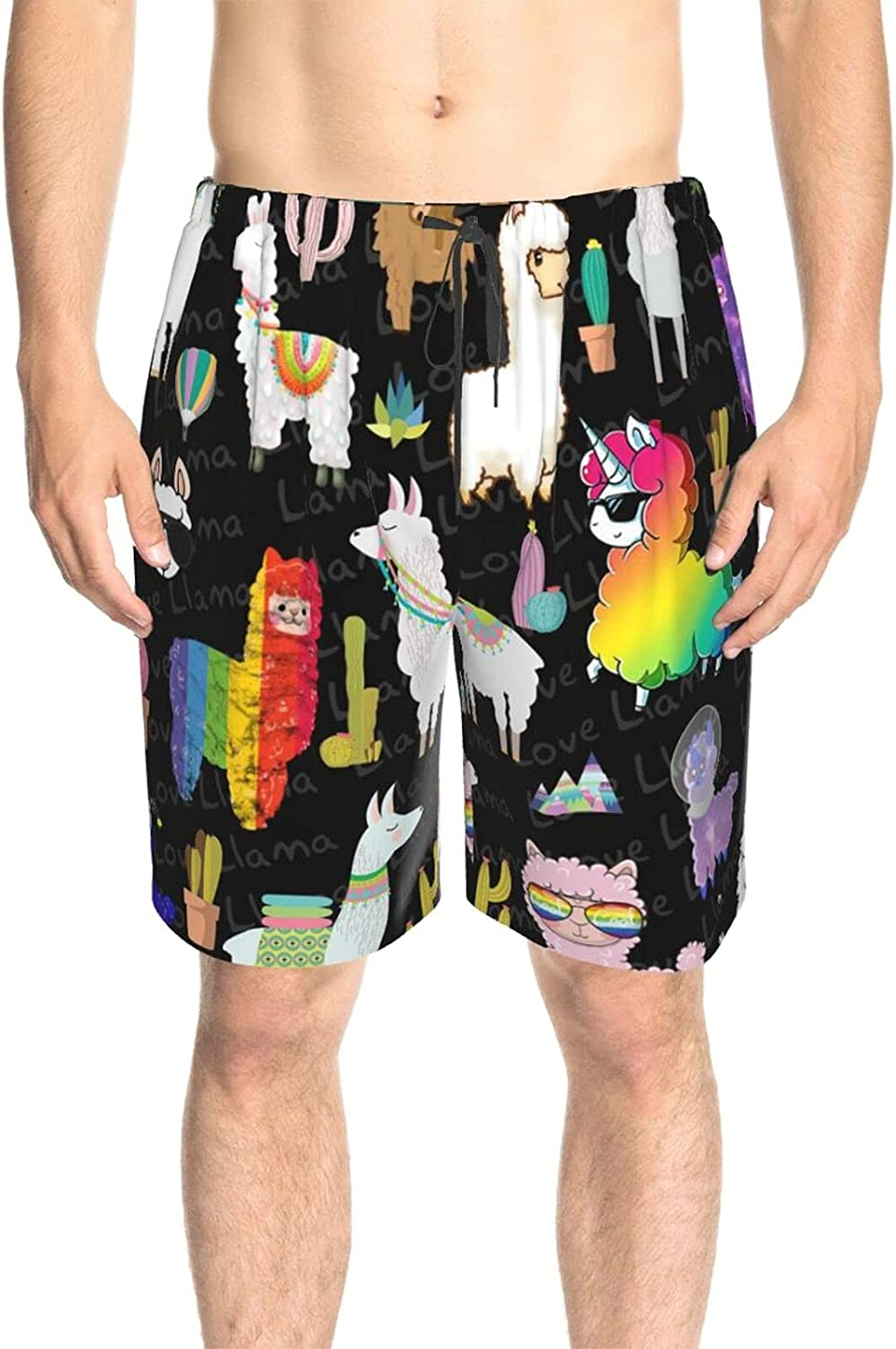 Men's Swim Shorts Llama Love Bathing Suit Boardshorts Quick Dry Comfy Swimming Trunks with Liner