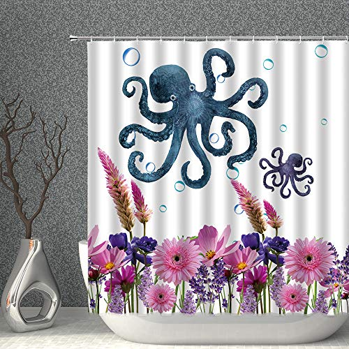 Blue Octopus Decor Shower Curtain Watercolor Ocean Animal Kraken Fabric Polyester Bathroom Curtains with Hooks 70x70 Inch